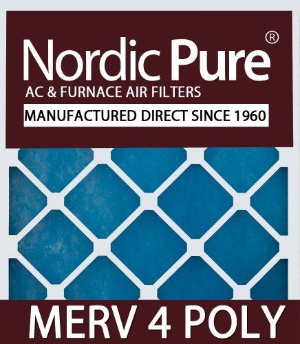 Nordic Pure 20x25x2M4Poly-3 Quantity 3 MERV 4 Poly TA Disposable Air Filter by Nordic Pure. $19.95. Great inexpensive replacement air filter. Maintain excellent air flow-great for units with restricted airflow. Actual Size of Filter: 19 1/2 x 24 1/2 x 1 3/4. ASHRAE rating of MERV 4. Nordic Pure Manufacturer Direct since 1960-Made in the USA. From the Manufacturer                Polyester Disposable Throw Away (TA) Air Filters are disposable nonwoven blue tinted p...