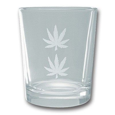 Short Glass With Weed Leaves