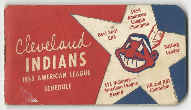 1955 CLEVELAND INDIANS American League Pocket Schedule Booklet