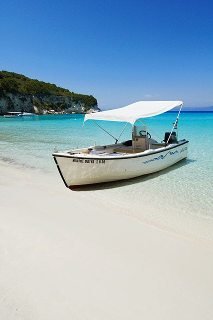 It's hard to beat the pristine white sands of Anti-Paxos, just a short boat trip from Paxos and Corfu Town #Greece #Paxos #AntiPaxos