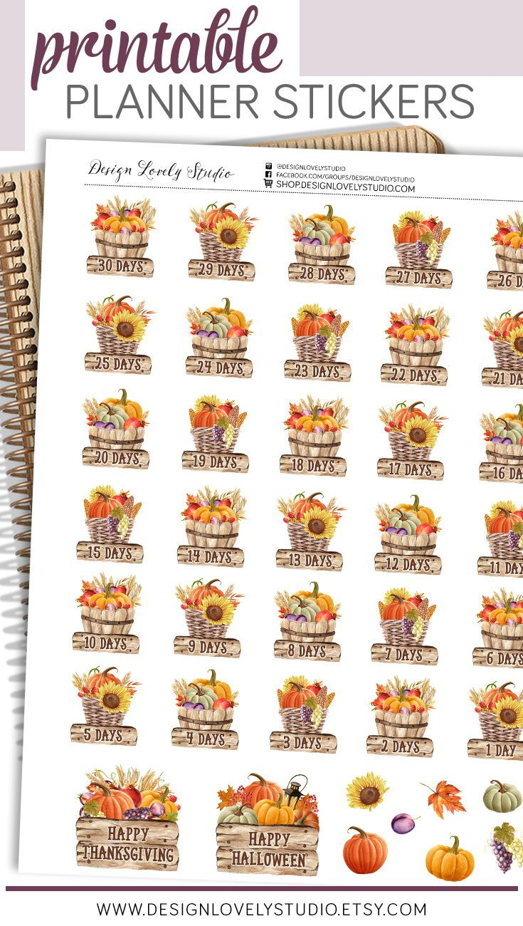 Printable Thanksgiving Countdown Stickers Printable Halloween Etsy In 2020 Happy Planner Stickers Free Thanksgiving Countdown Fall Planner Stickers
