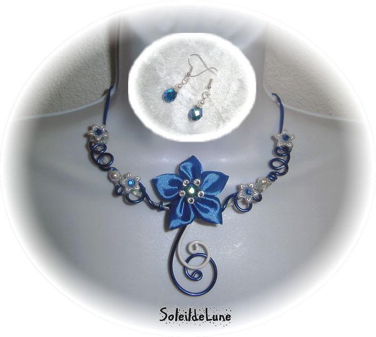 Collier Fleur bleu roi satin Strass cristal Perles bleu roi / blanc+BO ♥ Collier mariage fête soirée : Collier par soleildelune-bijoux-mariage
