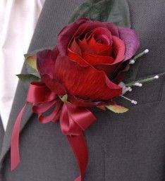 Large Burgundy Rose & White Silk Heather Grooms Wedding Buttonhole #silkflowers #buttonholes