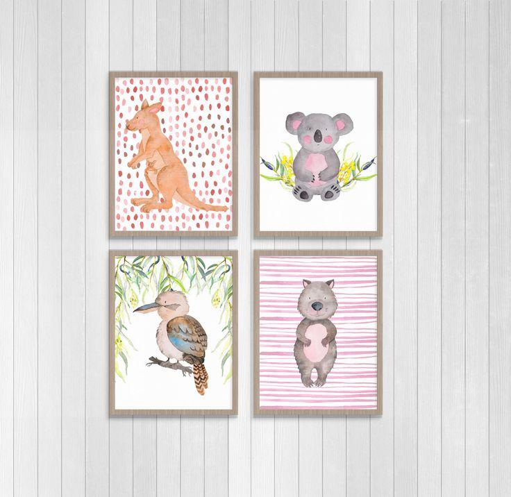Australian Wildlife set of 4 Nursery Prints by PennyPaperieDesigns on Etsy https://www.etsy.com/au/listing/478893399/australian-wildlife-set-of-4-nursery