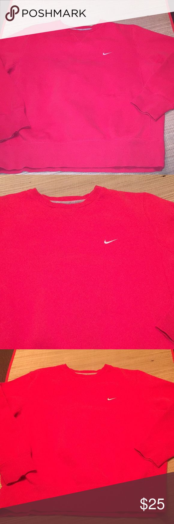Nike Sweatshirt red white nike check retro Vintage Men's large (looser fit)  🔥price firm 🔥retro Nike Sweatshirt. Excellent condition normal light fading not bad. Bright red with White Nike check on chest. Warm long sleeve Nike hoodie sweatshirt for men. Vintage gym style but not sure how old it is since it has Nike athletic dept tag. Similar to 90s style Nike sweats🔥classic Nike Jordan colors 🔥 🔥 price firm ships next day 🔥tags: vintage Nike windbreaker retro Champion hoodie Vtg polo…