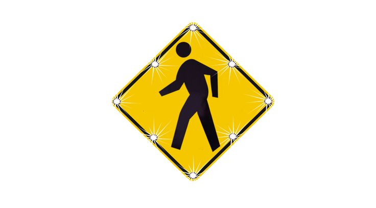 "Solar, Flashing LED Pedestrian sign.  Push button activation available.  Comes in 24"", 30"" 36"" and 48"" sizes."