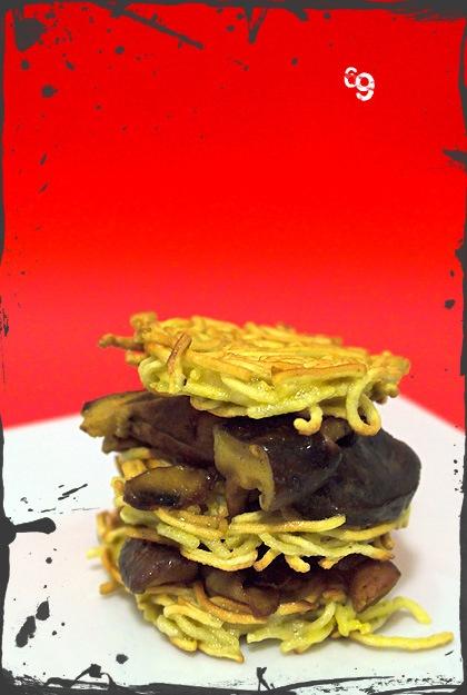 Rösti di Noodles con funghi Shitake
