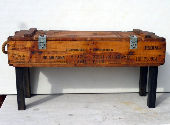 50s AMMUNITION box  bench/table pine upcycle recycle rope handles and storage OOAK