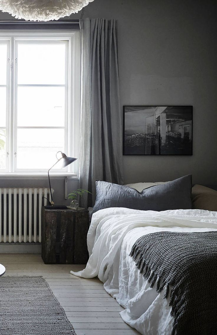 Black and white curtains bedroom - Cozy Grey Home Via Cocolapinedesign Com