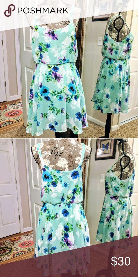 Gabriella Rocha Natalia Floral Tank Dress Blue mint floral blouson tank dress. Size L Gabriella Rocha Dresses