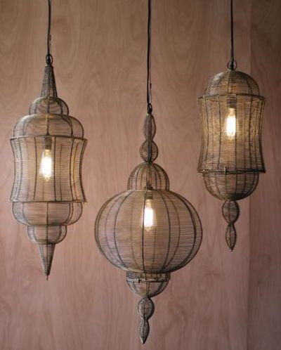 Wire Pendant Lantern evokes a moroccan feel. Antique Gold finish offers a vintage touch to this stunning lighting.