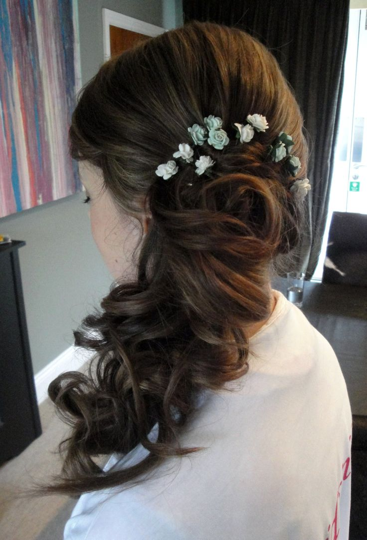 Bridesmaids Hair up & to the side www.weddingmakeupandhairstyling.co.uk  Wedding Hair & Makeup by Katy Richards