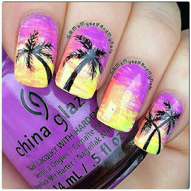 всегда картинки яркого летнего маникюра в фиолетовых оттенках с пальмами будильник звон полуночи