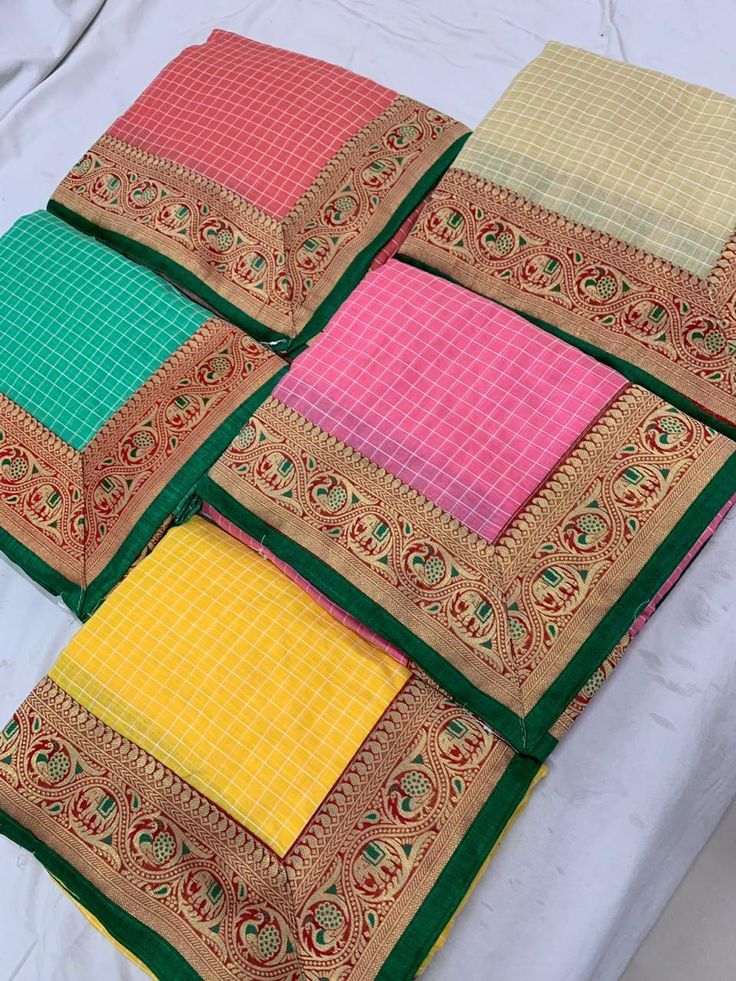 DESIGNER WEAR COLORFUL CHECKS SAREES LATEST COLLECTION | Ethnic Export 2