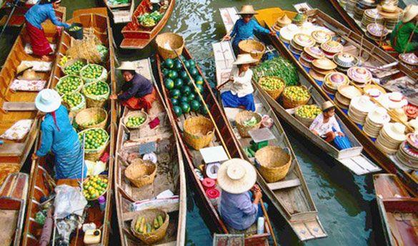 El mercado flotante de Bangkok.