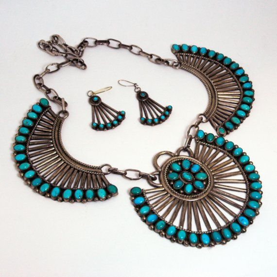 Antique Navajo Squash Blossom Necklace and by thevintagecollector