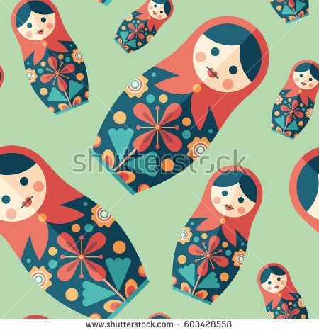 Traditional nesting doll flat icon seamless pattern. #vectorpattern #patterndesign #seamlesspattern