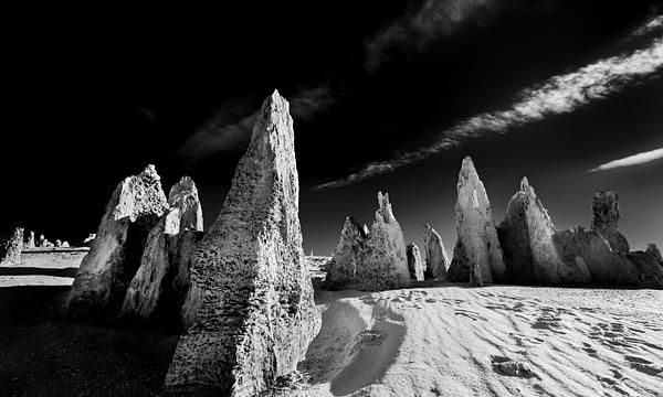 The Pinnacles in Western Australia. Black and white landscape photo.