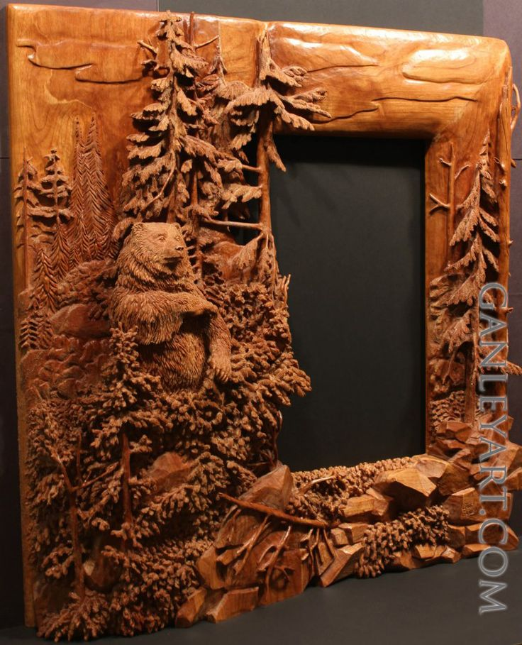 Dave Ganley woodworking... Bear in forest mirror: very detailed and intricate wood carving done all by hand.
