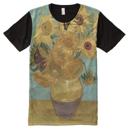 Van Gogh Sunflowers (F455) Vintage Fine Art All-Over-Print T-Shirt - tap to personalize and get yours