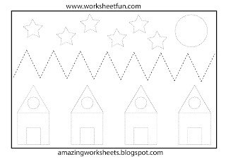 Shapes tracing and coloring worksheet