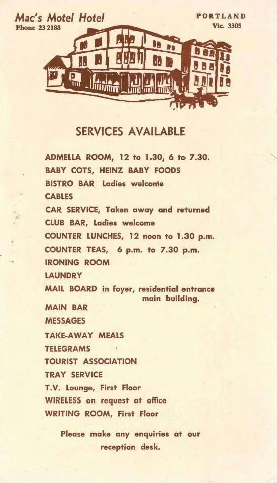Macu0027s hotel menu Historical Portland, Victoria, Australia - car service invoice