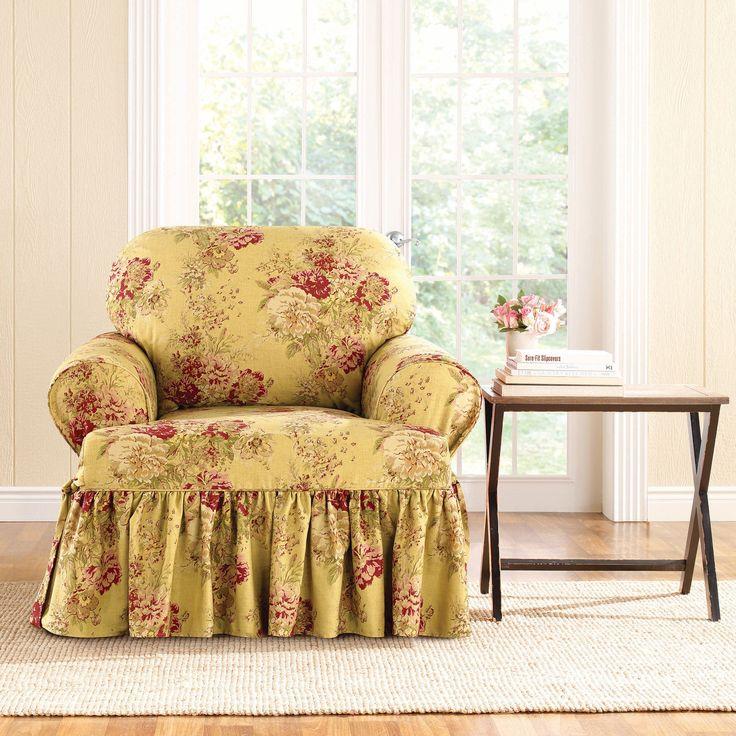 Sure-Fit Ballad Bouquet Armchair T-Cushion Skirted Slipcover (T-Cushion Chair, TEA Stain), Multi (Floral)
