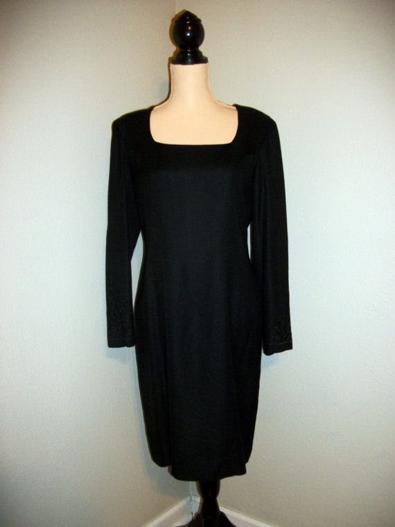 Vintage 90s Dress Size 8 Black Dress 1990s Dress Long Sleeve Midi Rayon Embroidered 1990s Liz Claiborne FREE SHIPPING Medium Womens Clothing