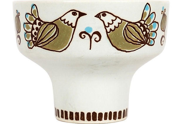 Vintage Norwegian ceramic pedestal dish hand-painted love birds in brown, moss, and light blue.