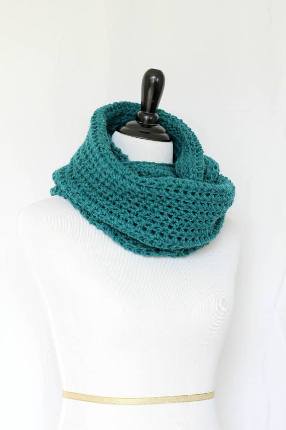 This crochet cowl scarf is a cozy addition to any modish fall/winter wardrobe.  It's made with Premium Acrylic yarn in teal color, which is very soft and hypoallergenic.  T... #kgthreads #neckwarmer #homespunsociety
