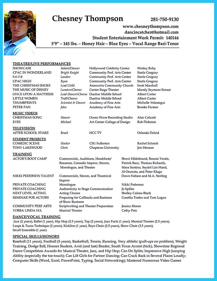 musical theatre audition resume template example acting templates dance