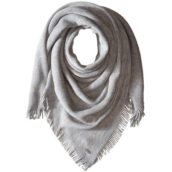 Calvin Klein Cashmere-Like Acrylic Square Scarf (Heathered Mid Grey) ($58) ❤ liked on Polyvore featuring accessories, scarves, metallic shawl, square scarves, cashmere scarves, calvin klein and grey shawl
