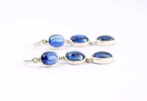 Orecchini Cianite Blu e Diamanti in Argento 925 di Freesize