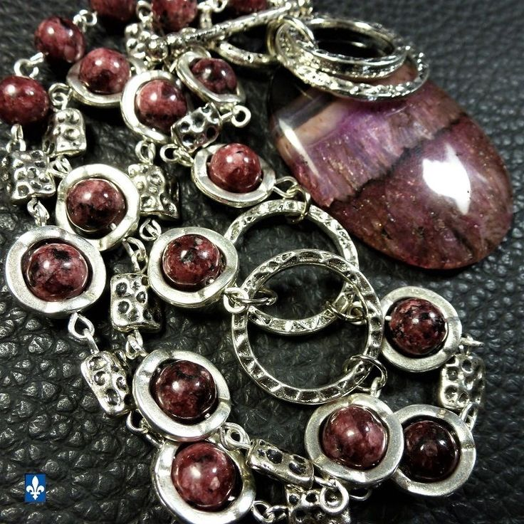 ♥ Amazing Burgundy Pink Agate Druzy Pendant & Jasper Plated Silver Necklace