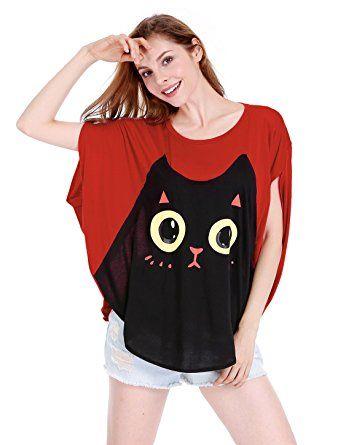 90f8e1009 Allegra K Women Cat T Shirt Dolman Sleeve Loose Summer Tops Red XL ...