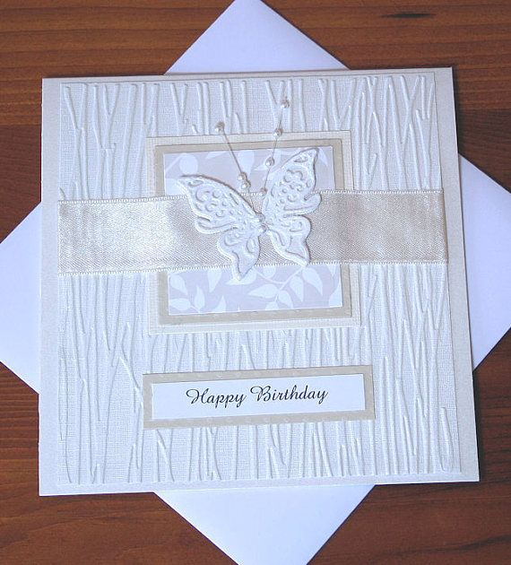 Elegant Luxury Birthday Card for a Lady Layered with Embossed