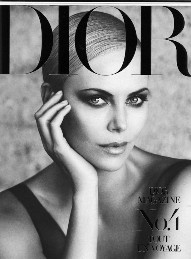 CAHRIZE THERON DIOR MAGAZINE 4 RESORT HOLIDAY VACATION INSPIRATION SMOKEY EYE SLICK SIDE PART CHIGNON LOW BUN LOS ANGELES COVER BLACK WHITEN...