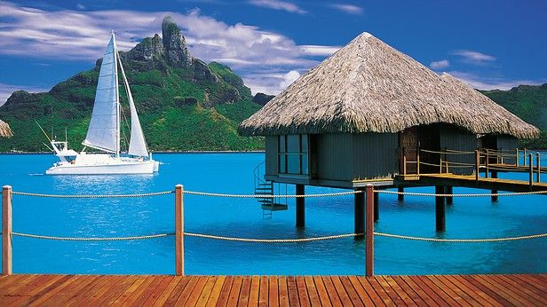 Known as a playground for the rich and famous, this beautiful island in French Polynesia offers white sandy beaches, lush tropical valleys and crystal-clear water.