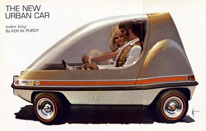 """""""The New Urban Car"""" Syd Mead for Playboy , 1970"""