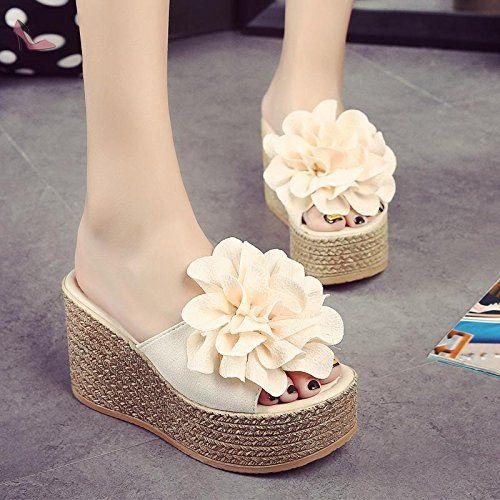LvYuan Pantoufles d'été pour femmes / Chaussures confortables décontractées / Talon compensé / Basse épaisse / plateforme étanche / talon haut / Fleur / sandales / chaussures de plage sexy , apricot , CN36 - Chaussures lvyuan (*Partner-Link)