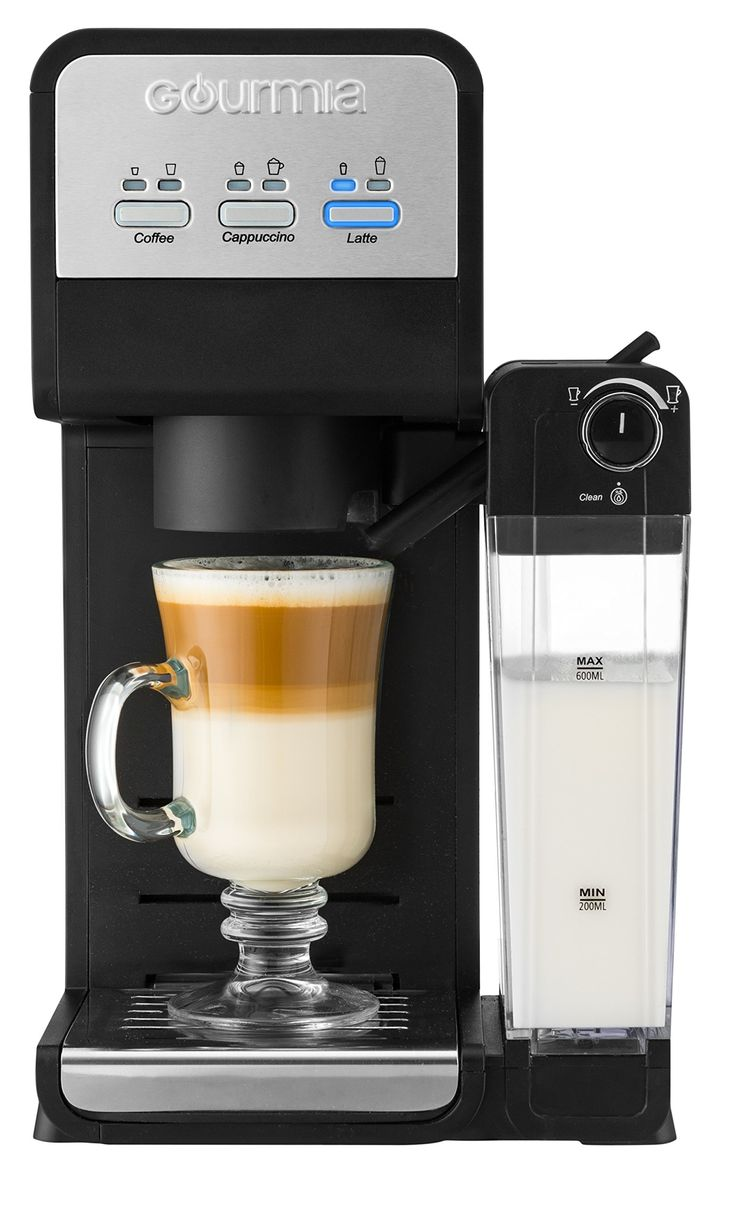 Gourmia GCM4000 3 In 1 Single Serve, One Touch K-Cup Compatible Cappuccino and Latte Coffee Maker W/ Built-In Milk Frother, Steams Milk Direct Into Your Cup, Adjustable Steam And Self-Cleaning Mode.