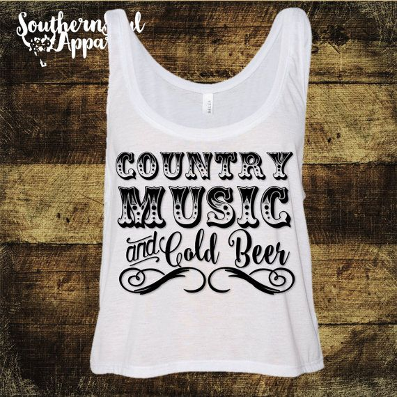 Country Music & Cold Beer Cropped Tank by SouthernSoulApparel