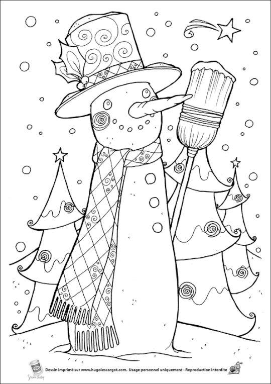 Coloriage bonhomme neige