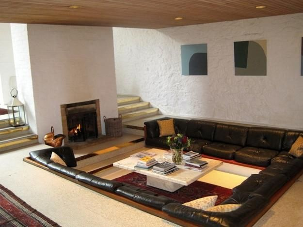 Cozy Living Room Designs With Fireplaces Defined By Sunken And Raised Floor  Areas Part 64