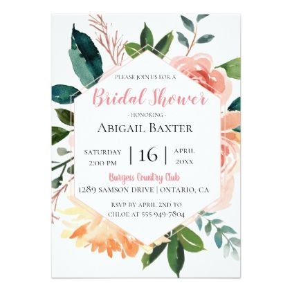 1a86b8b7ce30 Pink Watercolor Floral Bridal Shower Invitation - watercolor gifts style  unique ideas diy