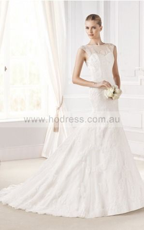 Mermaid Cap Sleeves Jewel Buttons Wedding Dresses fvbf1101--Hodress