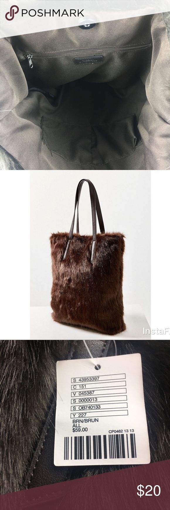 NWT Urban Outfitters Faux Fur Tote Bag Brand new with tags! Never worn. Oversized and roomy inside. Lined interior with zipper and pockets for phone/make up. Brown faux fur. Length: 15.75 inches. Width: 4.13 inches. Height: 17.7 inches. Handle drop: 9.84 inches. Smoke free home. Make a statement! Urban Outfitters Bags Totes