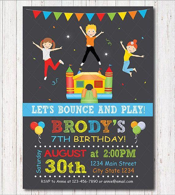 Bounce House Birthday Invitation Boys Invitation Bounce