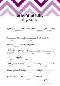 FREE Baby Mad Libs Game - Baby Advice - Baby Shower Ideas - Themes