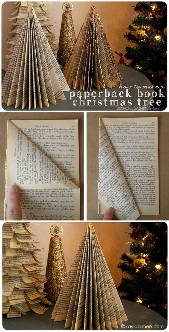 Easy Christmas Craft Tutorial: how to make a folded paper christmas tree from a paperback book: